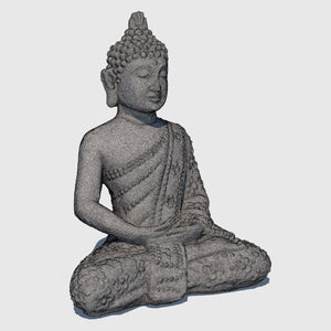 small rough gray stoned cg Buddha statue in Lotus position rendered with medium resolution wireframe
