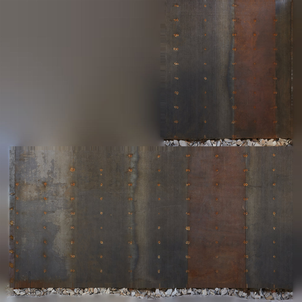 uv texture map of a tall rusty metal wall in various colors