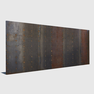 tall rusty metal cg wall in various colors of reds blues and oranges rendered with low resolution texture