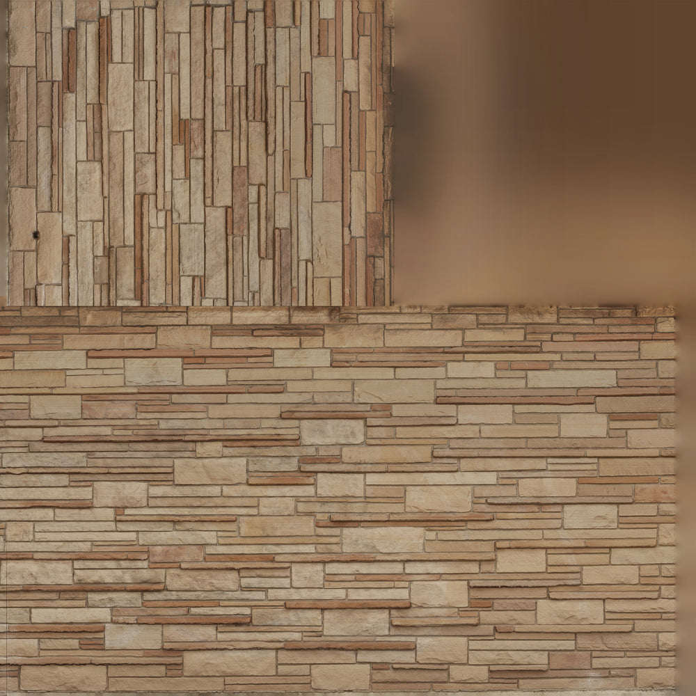 uv map of wall made of various beige rectangles in different depths