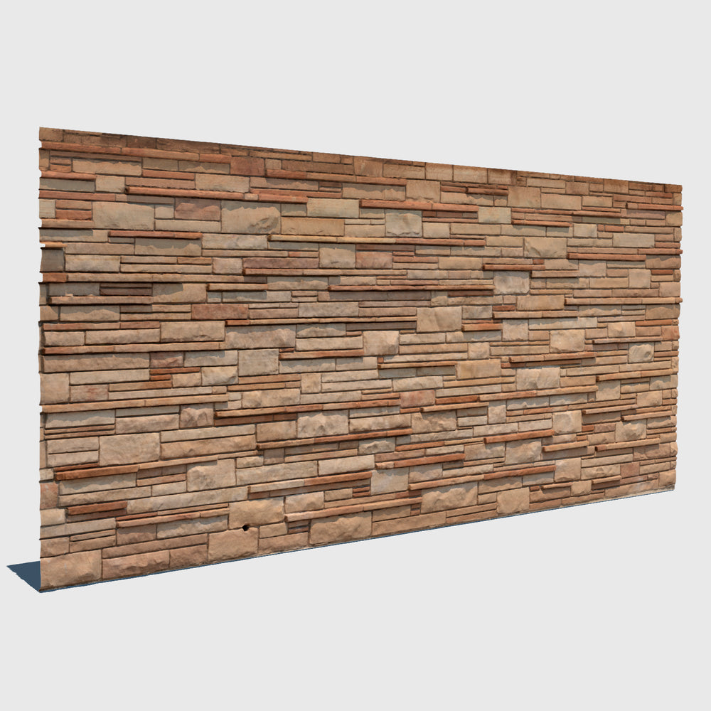 various sized beige rectangle bricks in different depths forming a wall in cg rendered with high resolution texture