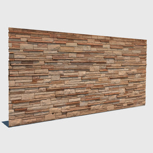 various sized beige rectangle bricks in different depths forming a wall in cg rendered with low resolution texture