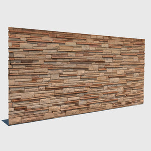 various sized beige rectangle bricks in different depths forming a wall in cg rendered with medium resolution texture