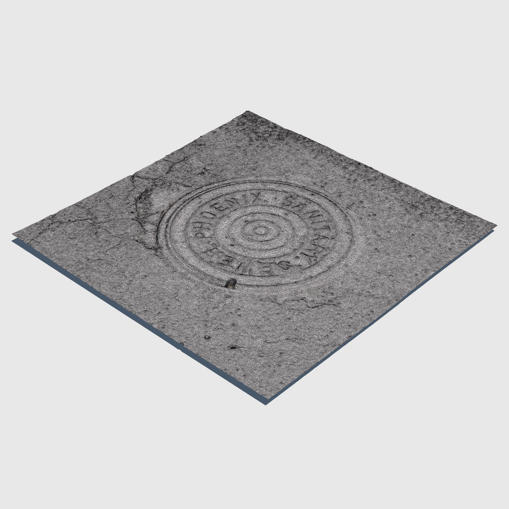 sanitary sewer cg manhole cover from city of Phoenix with square section of asphalt surrounding the cover rendered with high resolution wireframe