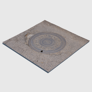 sanitary sewer cg manhole cover from city of Phoenix with square section of asphalt surrounding the cover rendered with low resolution texture