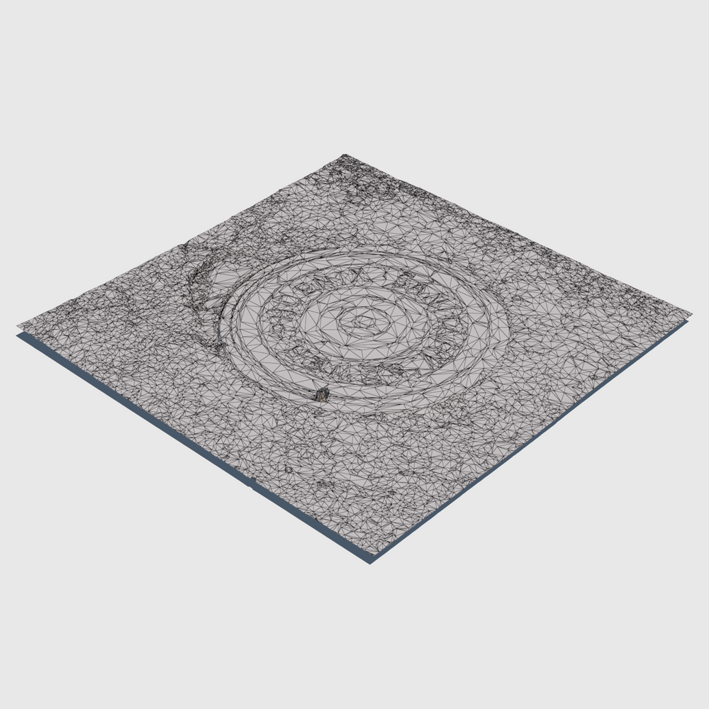 sanitary sewer cg manhole cover from city of Phoenix with square section of asphalt surrounding the cover rendered with low resolution wireframe
