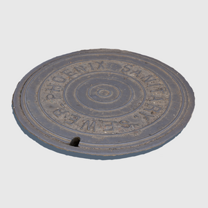 sanitary sewer cg manhole cover from city of Phoenix rendered with low resolution texture