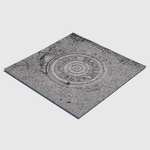 sanitary sewer cg manhole cover from city of Phoenix with square section of asphalt surrounding the cover rendered with medium resolution wireframe