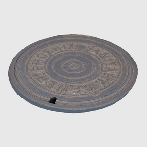 sanitary sewer cg manhole cover from city of Phoenix rendered with medium resolution texture