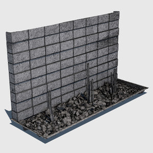 ground level planter full of medium sized rocks and 3 tall skinny cacti sections with a cement cinder block wall behind it rendered with high resolution wireframe
