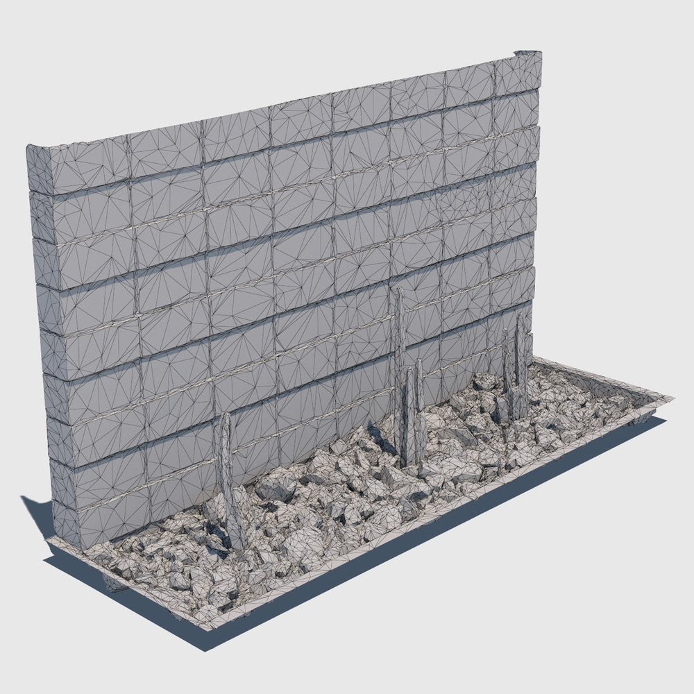 ground level planter full of medium sized rocks and 3 tall skinny cacti sections with a cement cinder block wall behind it rendered with low resolution wireframe