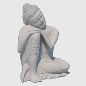15-inch wooden cg buddha statue in 'Resting' postion rendered with low resolution clay