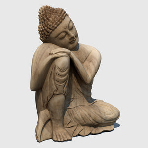 15-inch wooden cg buddha statue in 'Resting' postion rendered with low resolution texture