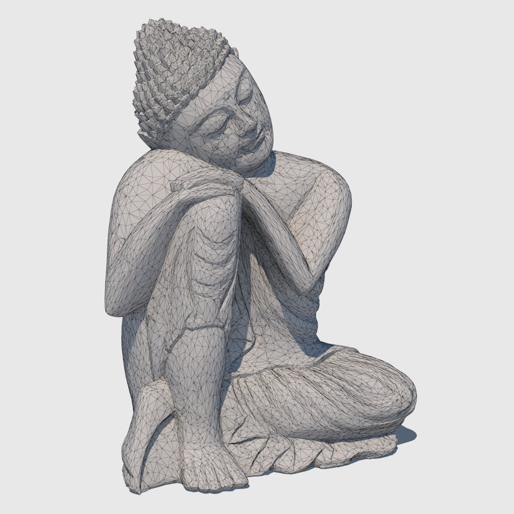 15-inch wooden cg buddha statue in 'Resting' postion rendered with low resolution wireframe