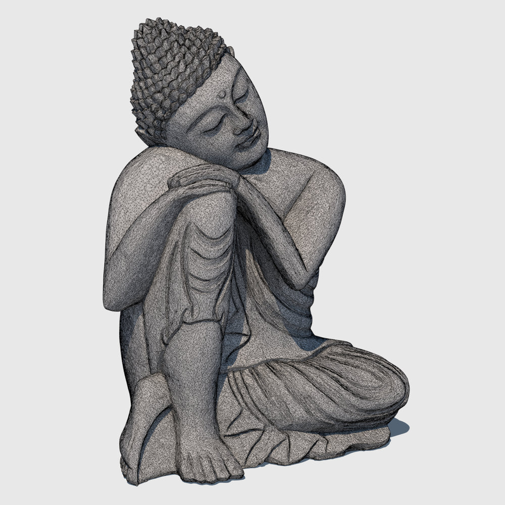 15-inch wooden cg buddha statue in 'Resting' postion rendered with medium resolution wireframe