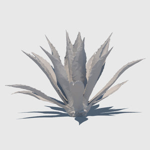 large cg Agave Americana plant rendered with low resolution wireframe