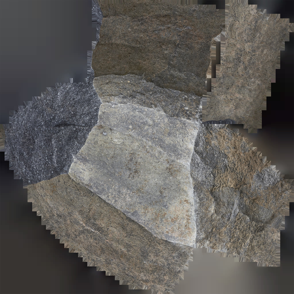 uv texture map of a gray and beige colored boulder