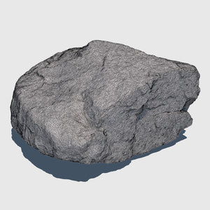 1.5' by 1.5' wide orange colored cg rock that is about 1' tall with fairly flat sides rendered in high resolution wireframe