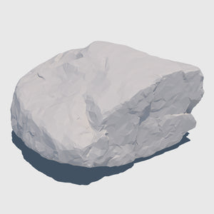1.5' by 1.5' wide orange colored cg rock that is about 1' tall with fairly flat sides rendered in low resolution clay