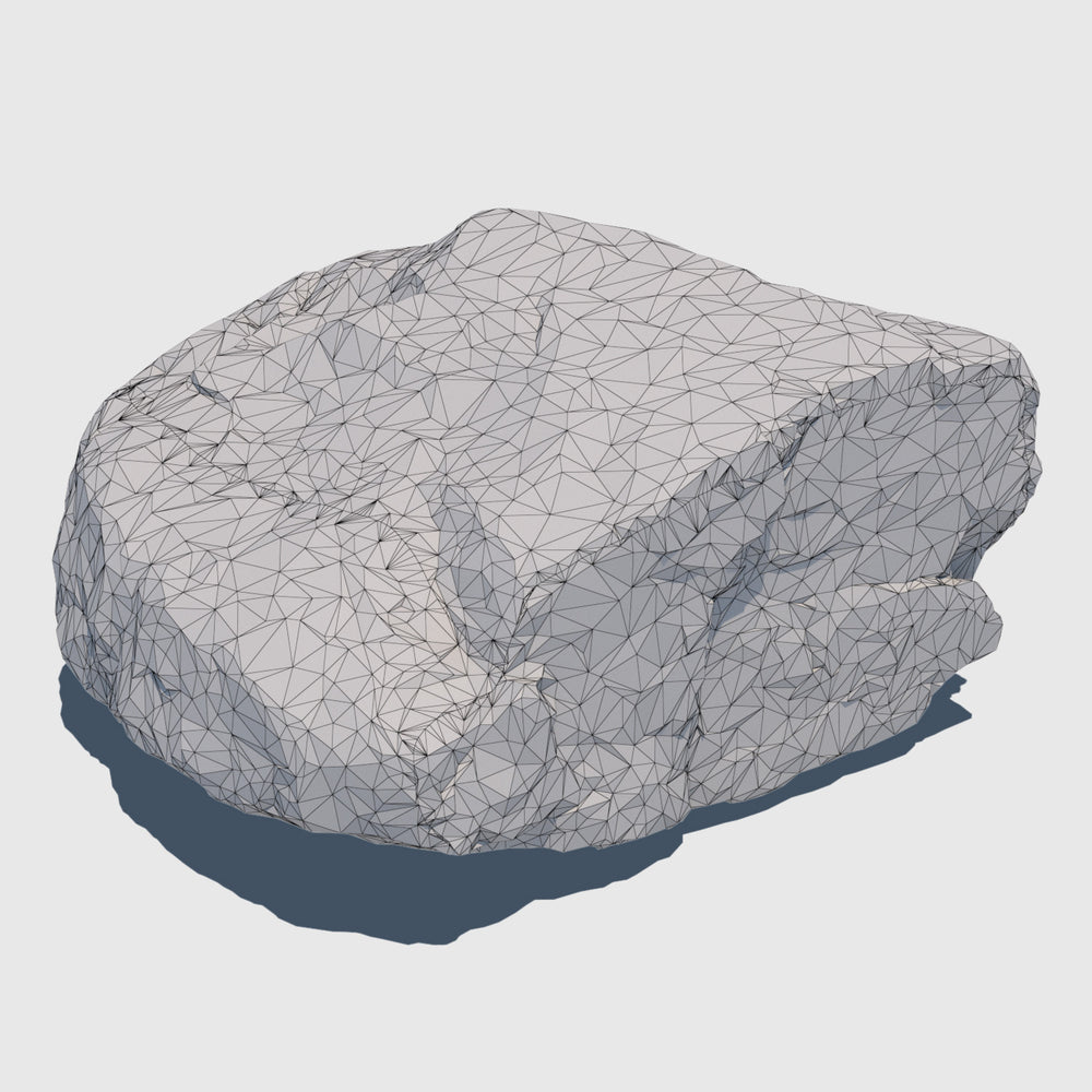 1.5' by 1.5' wide orange colored cg rock that is about 1' tall with fairly flat sides rendered in low resolution wireframe