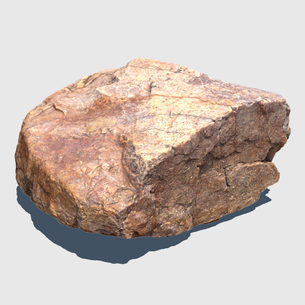 1.5' by 1.5' wide orange colored cg rock that is about 1' tall with fairly flat sides rendered in medium resolution texture