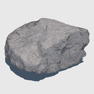 1.5' by 1.5' wide orange colored cg rock that is about 1' tall with fairly flat sides rendered in medium resolution wireframe