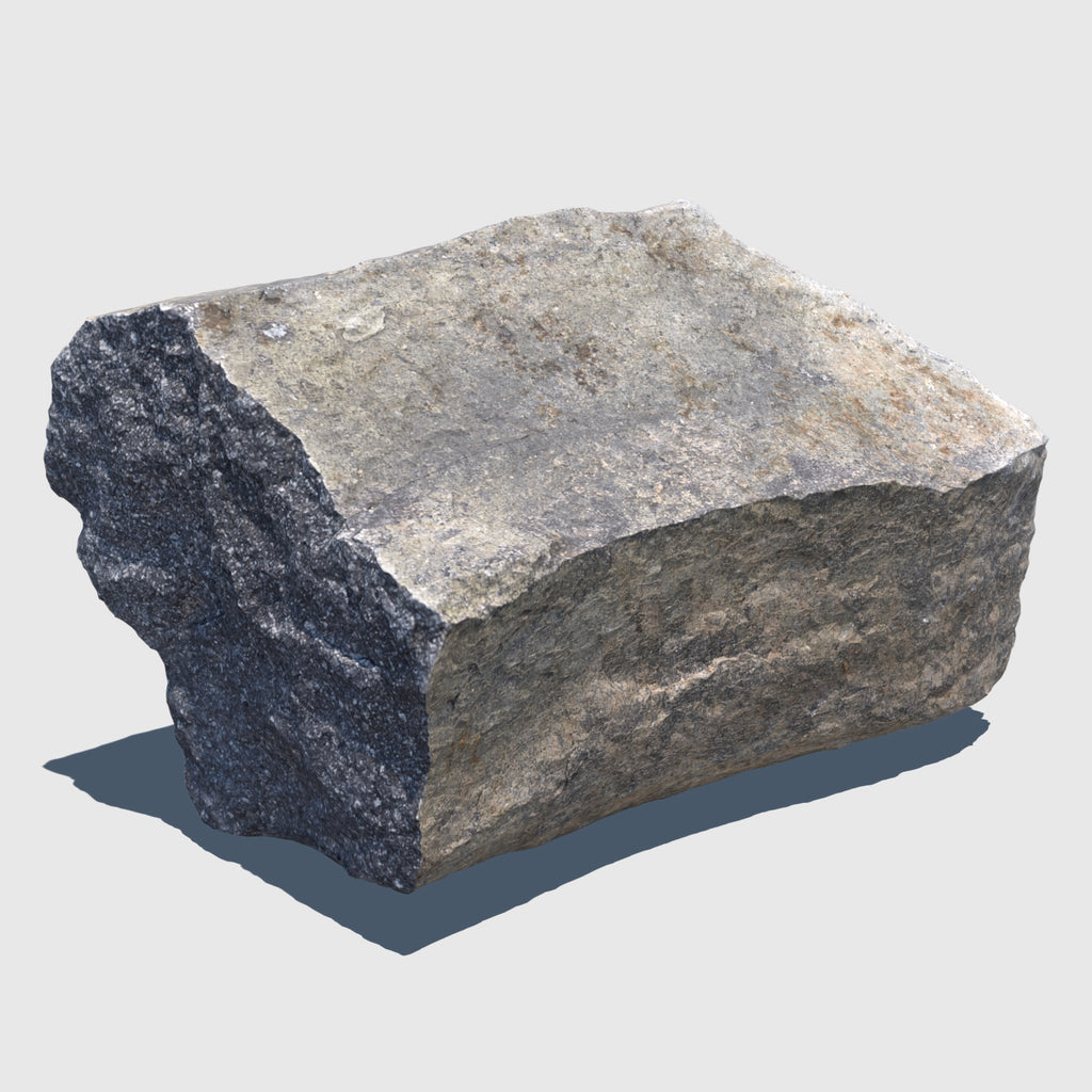 Gray and beige colored cg boulder about a foot in diameter rendered with low resolution texture