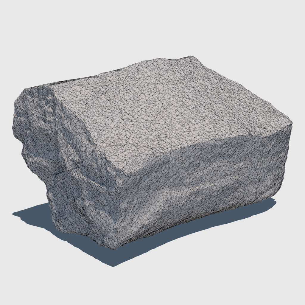 Gray and beige colored cg boulder about a foot in diameter rendered with low resolution wireframe
