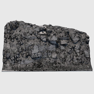 51' long cg rock formation that is approximately 23' tall and gray in color with lots of smaller rock debris and foilage at the base rendered in high resolution wireframe