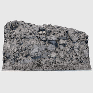 51' long cg rock formation that is approximately 23' tall and gray in color with lots of smaller rock debris and foilage at the base rendered in medium resolution wireframe