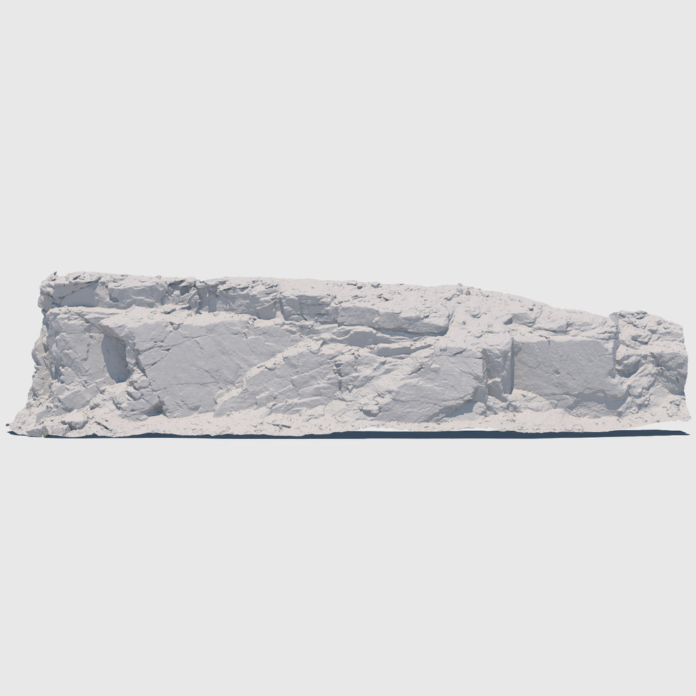 105-foot long cg mountain side made up of one solid slab of gray rock with various cracks and indentations rendered with high resolution clay