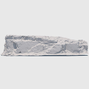 105-foot long cg mountain side made up of one solid slab of gray rock with various cracks and indentations rendered with low resolution clay