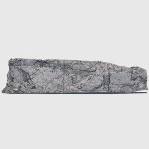 105-foot long cg mountain side made up of one solid slab of gray rock with various cracks and indentations rendered with low resolution wireframe