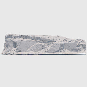 105-foot long cg mountain side made up of one solid slab of gray rock with various cracks and indentations rendered with medium resolution clay