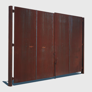 2 panel outdoor metal gate that is rusty and dark orange in color fastened in the middle with a latch rendered with high resolution texture