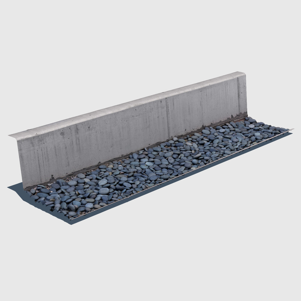 Short cement wall with a bed of blue river rocks at the base rendered with high resolution texture