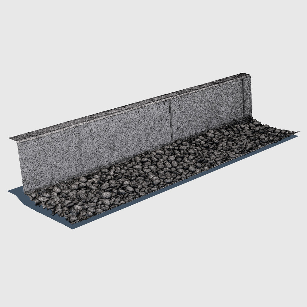 Short cement wall with a bed of blue river rocks at the base rendered with high resolution wireframe