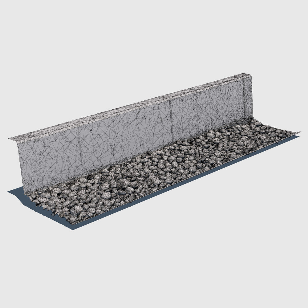 Short cement wall with a bed of blue river rocks at the base rendered with medium resolution wireframe