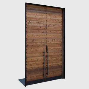 2 tall closed wooden cg doors with horizontal wood panels and black iron handles and frame rendered with high resolution texture