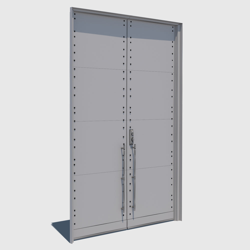 2 tall closed wooden cg doors with horizontal wood panels and black iron handles and frame rendered with high resolution wireframe