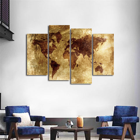 Rustic Vintage World Map Canvas Prints