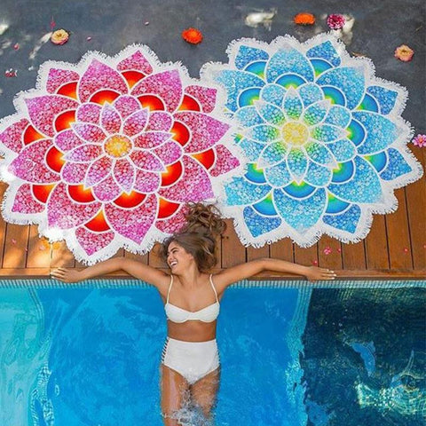 Lotus Mandala Tapestry Tassel Mat - Expedition Bay