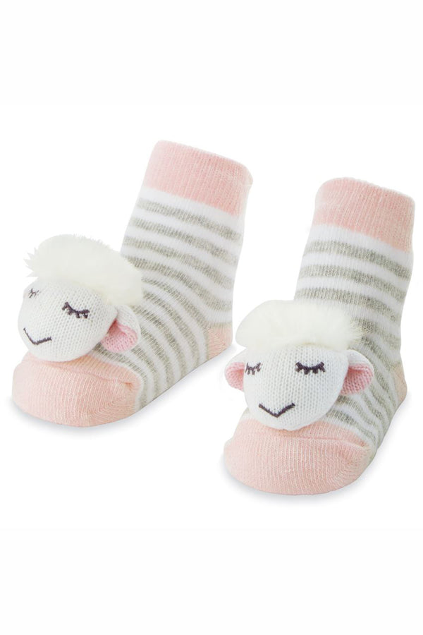 Baby Rattle Socks - Pink Sheep