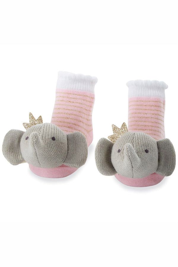 Baby Rattle Socks - Crowned Elephant