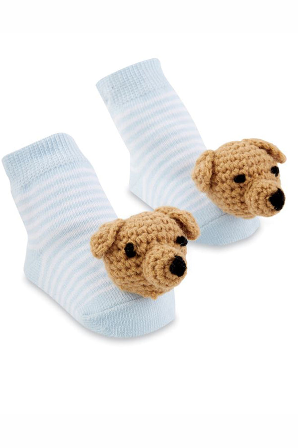 Baby Rattle Socks - Blue Dog