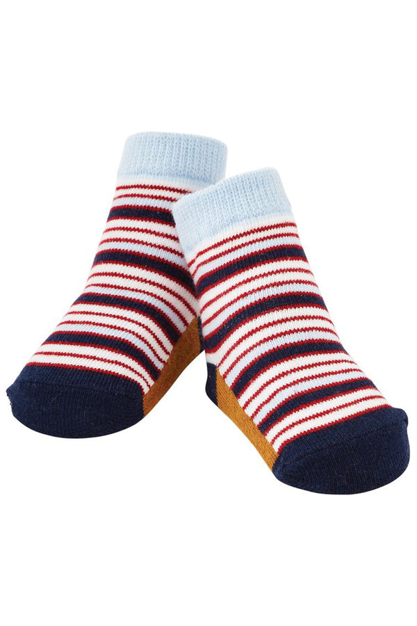 Baby Socks - Navy & Red Stripe