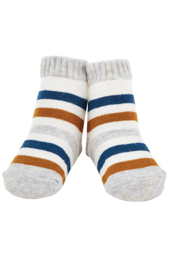 Baby Socks - Gray & Blue Stripe