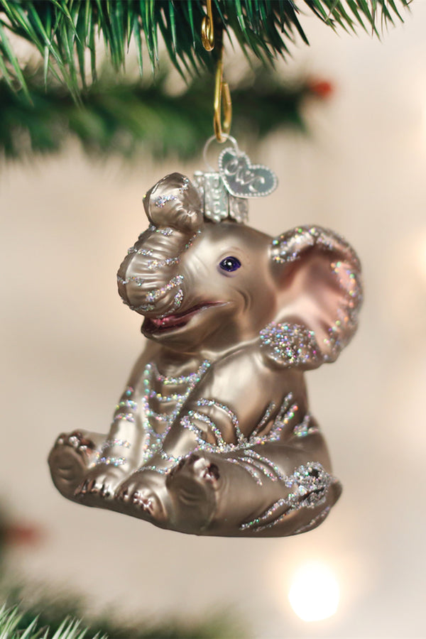 Glass Ornament - Baby Elephant