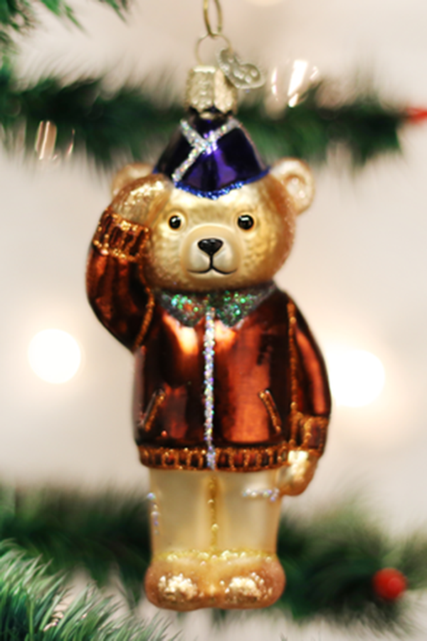 Glass Ornament - Air Force Bear