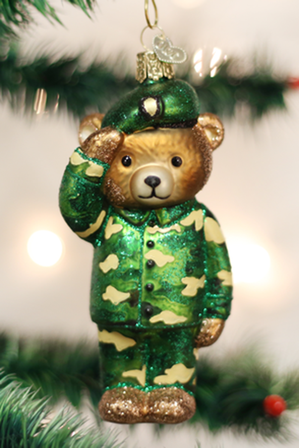 Glass Ornament - Army Bear